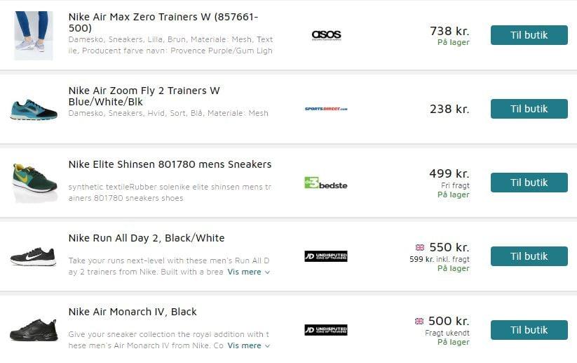 Pricerunner screenshot