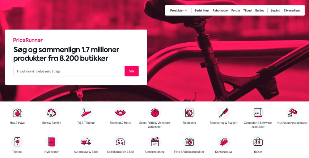 pricerunner homepage