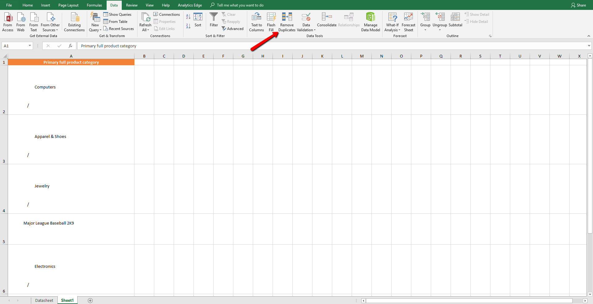 categorization excel