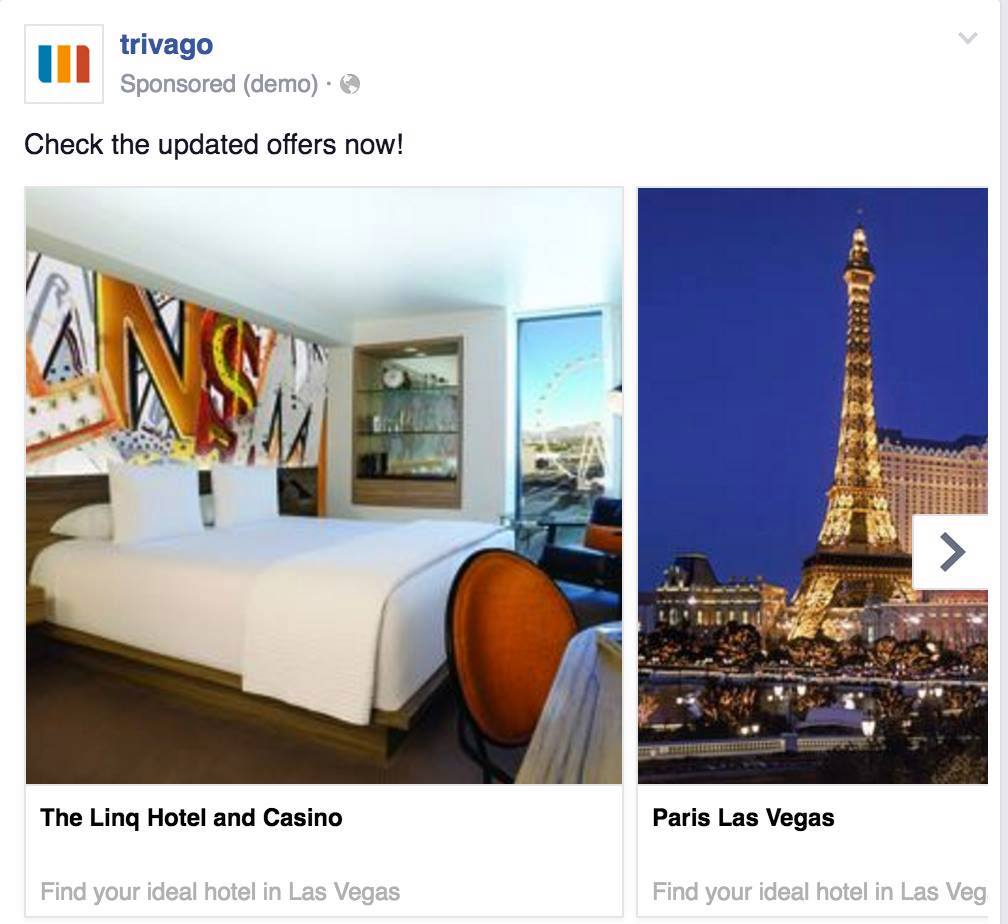 facebook travel ad trivago